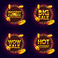 golden sale and discount lettering in retro lights frame vector