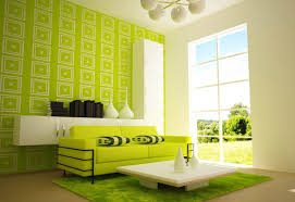 Bright Green Sofa Wonderful Center Wall Landscape In Modern Sitting Space With