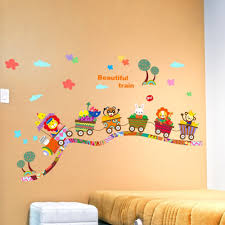 aliexpress com buy beautiful train wall sticker cartoon animals