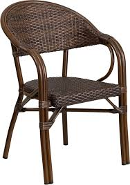 Milano Patio Furniture by Series Cocoa Rattan Restaurant Patio Chair With Bamboo Aluminum
