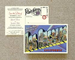 los angeles postcard save the date wedding save the date