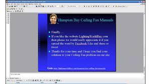 hampton ceiling fan manuals youtube