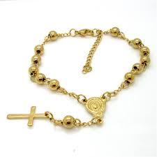 rosary bracelets silver gold color bead rosary bracelets link chain cross jesus charm
