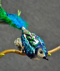 blue green and silver finch clip on bird ornament