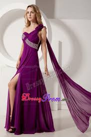flowery one shoulder beading prom formal dresses in dark purple
