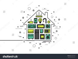 House Flat Design Thin Line Flat Design Smart House Stock Vector 292037543