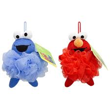 amazon com sesame street poofie pals elmo and cookie monster bath amazon com sesame street poofie pals elmo and cookie monster bath pouf kid s loofah for bath and showers bath time fun home kitchen