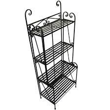 Corner Bakers Rack Amazon Com Folding Piper Bakers Rack Four Shelves Black Free
