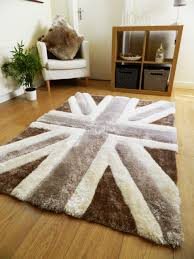 Purple Union Jack Rug Luxurious Thick Pile Rug Modern Soft Silky Contemporary Shaggy