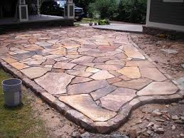 Flagstone Patio Designs Flagstone Patio Pictures Stacked Garden Edging Brown
