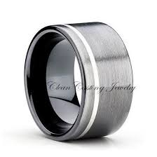 Mens Gunmetal Wedding Rings by 12mm Gunmetal Tungsten Ring Black Tungsten Ring Tungsten Carbide