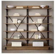 european retro iron cross brace metal display rack shelf bookcase