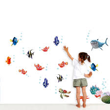 underwater world sea various shark fish cartoon diy wall