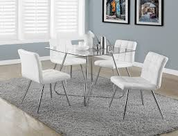 Fabric Dining Chair Low Back Armrests Amazon Com Monarch Specialties White Leather Look Chrome Metal 2
