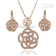 rose gold necklace earrings images 2018 factory price 18k gold necklace earrings plating gold full jpg