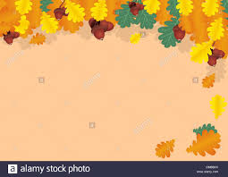 autumn collage of oak leaves and acorns stock vector art