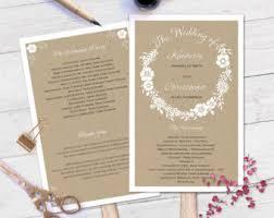 wedding program paddle fan template wedding program fan etsy