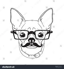 vector face little dog black white stock vector 566957920