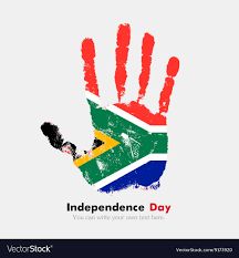 Image Of South African Flag Handprint With The Flag Of South Africa In Grunge Vector Image
