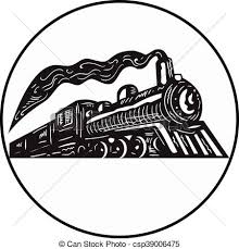 vectors illustration of steam train locomotive coming up circle