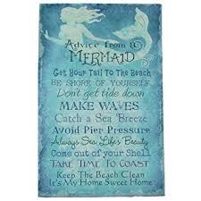 Canvas Home Decor Wisdom From A Mermaid Blue Canvas Wall Art Sign Beach Seaside