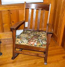 Mission Oak Rocking Chair Vintage Mission Style Rocking Chair With Tapestry Seats Ebth
