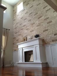 faux stone wall fireplace home design ideas