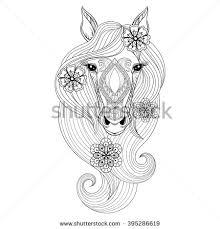 vector horse coloring horse face stock vector 395286619