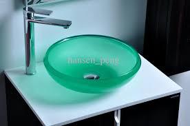 elite rectangle artistic blue tempered glass bathroom sink vessel
