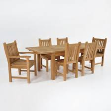 Table With 6 Chairs Capri Teak Outdoor Dining Set W Extension Table Teak Warehouse