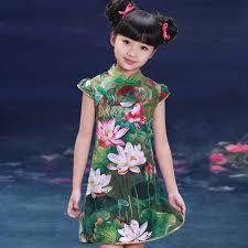 u0027s green cotton lotus print reformed chinese dress qipao