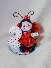 ladybug cake topper 2 2nd second birthday polymer clay by clayqts