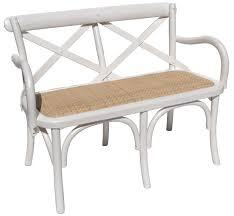 chairs white hampton cross back mini bench