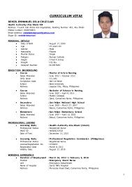 Sample Er Nurse Resume by Er Nurse Cv Reniel