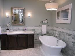 Contemporary Tile Bathroom - cadet blue master bathroom wall painting with mosaic stone subway