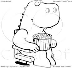 cartoon clipart of a black and white happy t rex with popcorn at