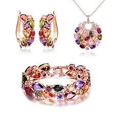 bracelet earrings set images Silyheart multicolor zircon pendant necklace bracelet jpg