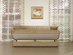 Contemporary Microfiber Sofa Dark Beige Microfiber Sofa Bed W Storage Unit