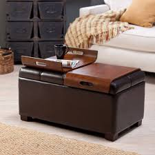 Leather Square Ottoman Coffee Table Furniture Brown Leather Square Ottoman Coffee Table When You Open