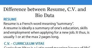 What Difference Between Resume And Cv Cv Vs Resume The Difference And When To Use Which