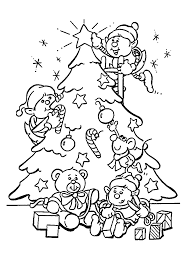 christmas tree and elves coloring pages for kids printable free