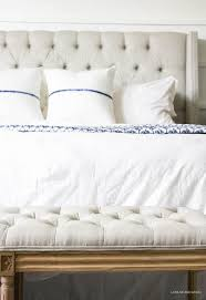 White Painted Headboard by Blue U0026 White Bedroom Reveal Orc Week 6 Hello Allison