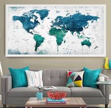 Map Home Decor Extra Large Watercolor Push Pin Map Poster Print World Map