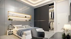 modern bedroom in the shades of grey viscato 3d rendering of a glamorous
