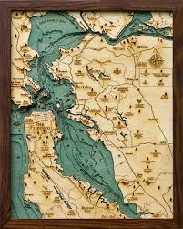 Bay Area Map San Francisco Bay Area California Small Wood Chart Wooden