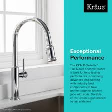 kitchen faucet kraususa com kraus sellette 8482 single handle pull down kitchen faucet with dual function sprayhead in