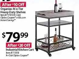 bjs wholesale black friday industrial kitchen cart for 79 99