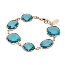 zoccai 925 london blue topaz bracelet in rose gold toned sterling