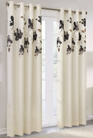 grommet curtain panels plastic with black floral pattern white and