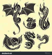 chinese dragon silhouettes tattoo mythology tail stock vector